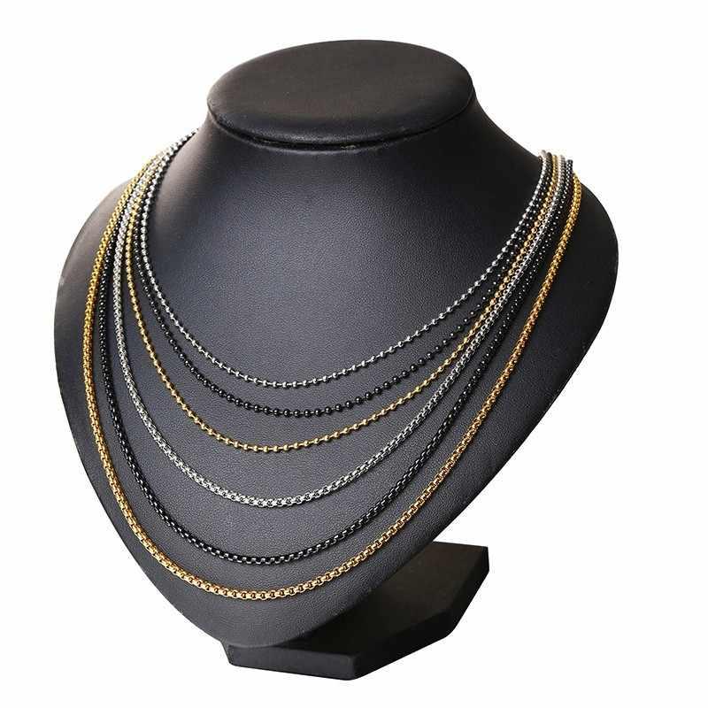 Mężczyzn ze stali nierdzewnej ze stali nierdzewnej okrągłe pudełko i koralik Ball Link łańcuch naszyjnik w czarny srebrny złoty z 24 cali (2.5mm-3.5mm szerokości)