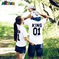 2017 de verão Da Família Roupas Combinando Curto-manga comprida T-shirt Olhar Família mãe e filha roupas pai e Filho bebê crianças