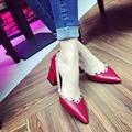 High Quality Charmig Show Woman Sexy Pointed Toe Pumps Lady's Sexy Casual Slip On Med Heel Woman Soft Leather Dress Shoes