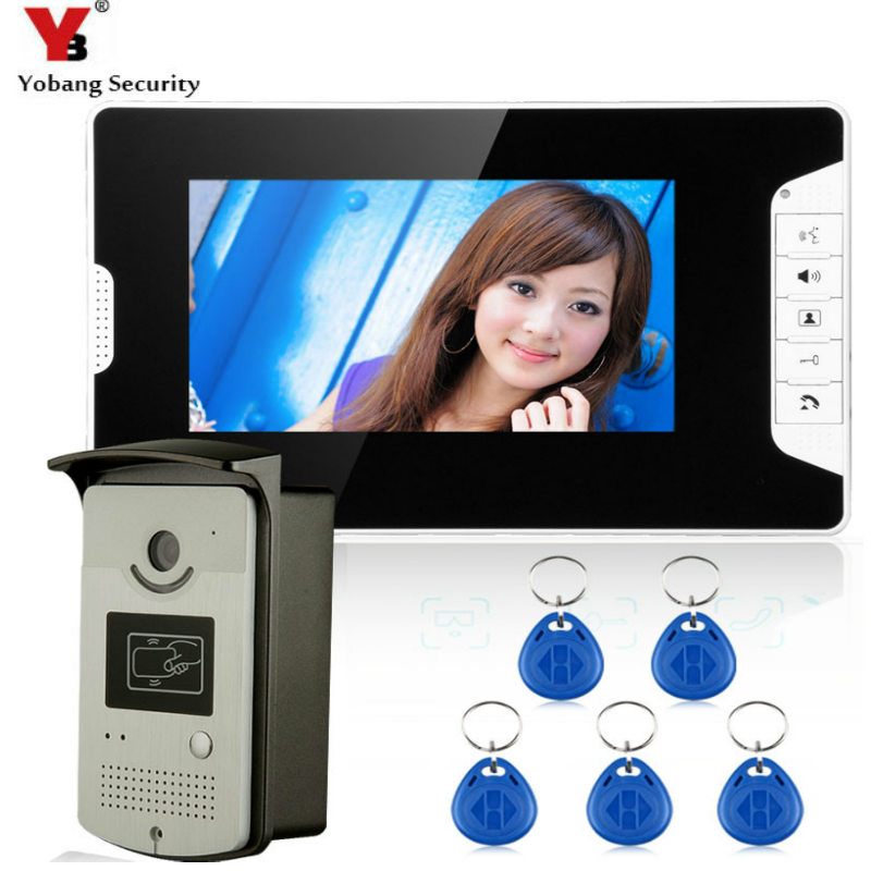 7 Inch Door Viewer Video Doorbell and Home Security Camera Monitor Intercom System Doorbell Entry Kit with Rain Cover Intercom yobangsecurity 7 inch video doorbell door phone viewer home security camera monitor intercom system with electronic door lock