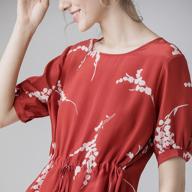 Blusa de las mujeres 100% de Crepe de seda rojo blusa Top camisa manga corta Oficina O cuello blusas 2019 primavera camisa de verano-in Blusas y camisas from Ropa de mujer    3