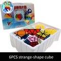 6 pçs/set Shengshou Branco Base Estranho-forma de Cubo Cubo Mágico Velocidade Torção Enigma Bundle Pack PVC & Fosco Adesivos Enigma do Cubo Mágico