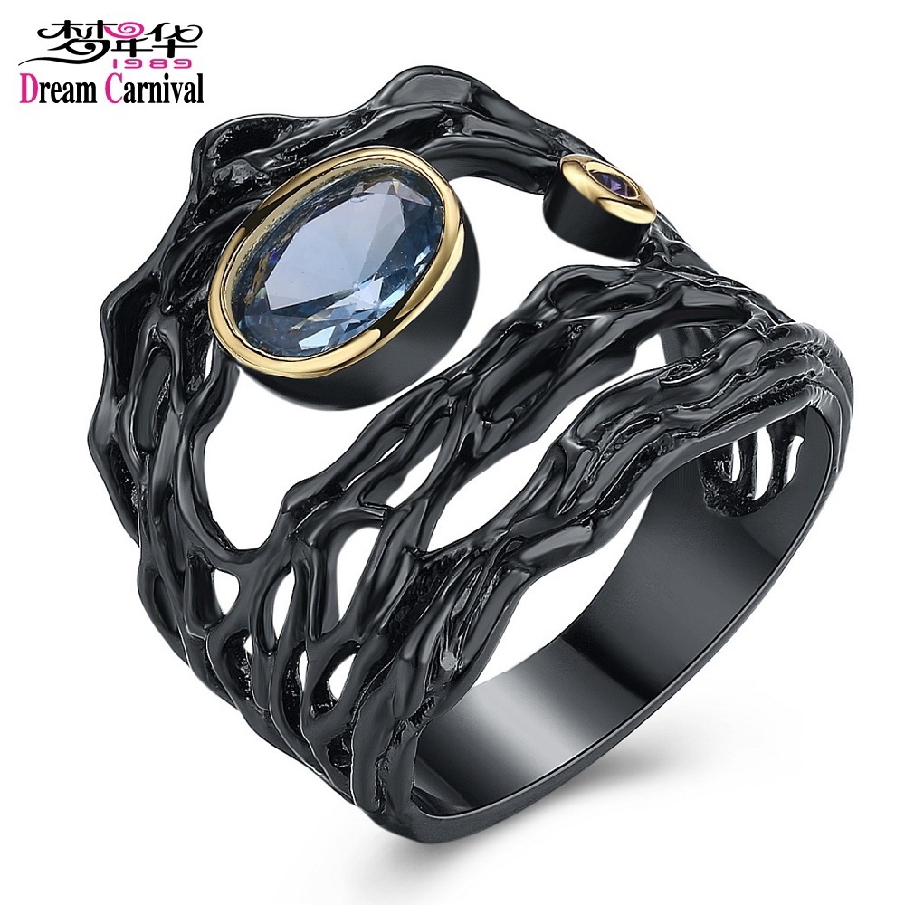 DreamCarnival 1989 Neo-Gothic Series Hollow Sea Blue Zirconia Vintage Ring for Women Black Gold Color Braided Jewelry Drop Ship