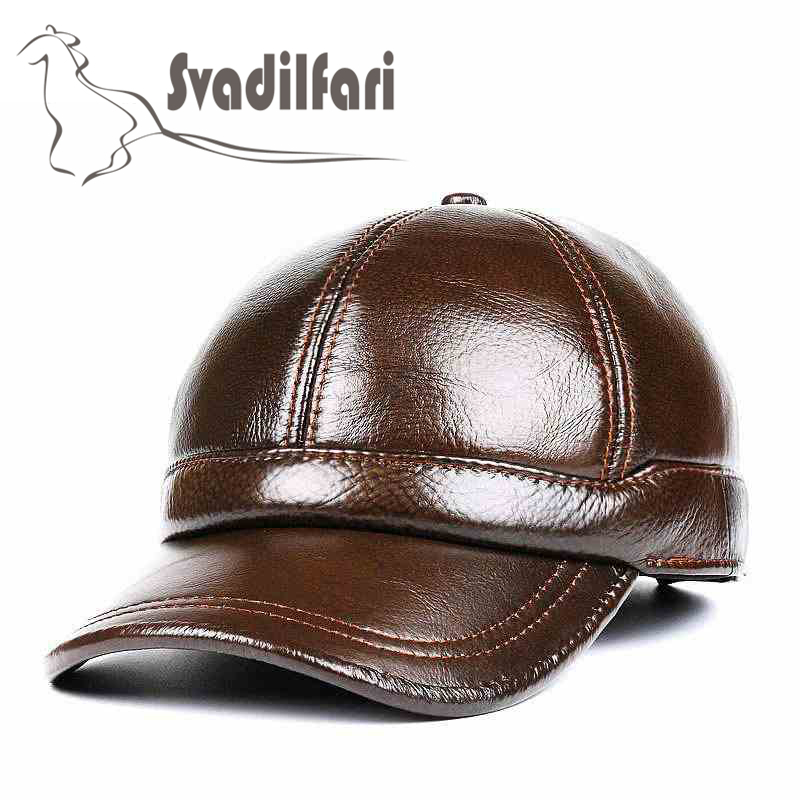 2018 New Autumn and winter Real leather hat men's leather baseball cap outdoor warm cap ear Protector Dad Winter Warm cap cap skullies gfs hot sale female tide leather braids knitted cap autumn and winter women s curling ear warmers headgear 1866784