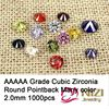 Brilliant Cuts Round Cubic Zirconia Beads Perfect For Jewelry 2mm 1000pcs AAAAA Grade Pointback Cubic Zirconia