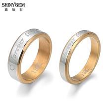 лучшая цена ShinyGem Forever Love Couple Rings Stainless Steel Wedding Engagement Rings Gold Engrave Titanium Pair Rings For Women Men Lover