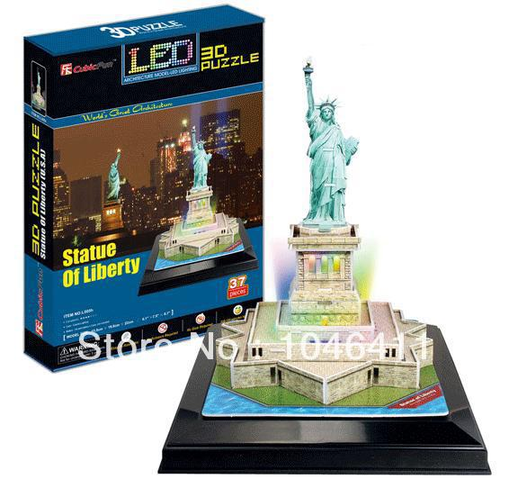 Statue of Liberty with LED light CubicFun 3D educational puzzle Paper & EPS Model Papercraft Home Adornment for christmas gift colosseum cubicfun 3d educational puzzle paper