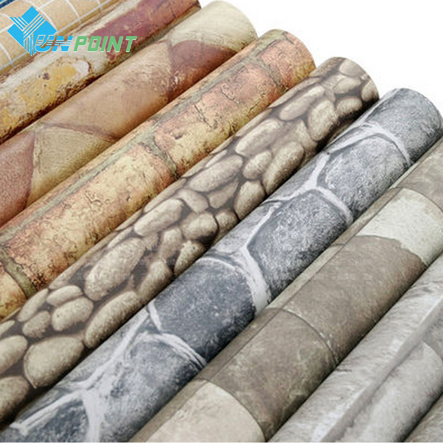 Self adhesive Wall Paper 3D Brick PVC Stone Vinyl Wall Stickers for Living Room Study Walls Papel Pintado Vintage Home Decor 60 50mm 2000 sheets per roll single row thermal transfer adhesive paper can customize use sticker printer empty shipping label