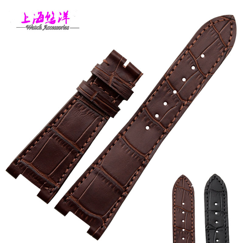 Genuine calf leather watch strap for PP5712G  men 25mm without buckle  black brown men without women