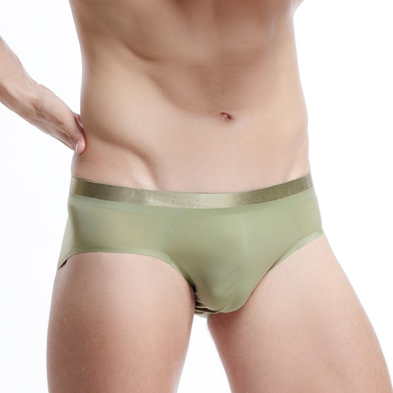 Buy Cockcon Men's briefs underwear Seamless Triangle Ultra-thin breathable briefs low waist Sexy summer Silk male briefs