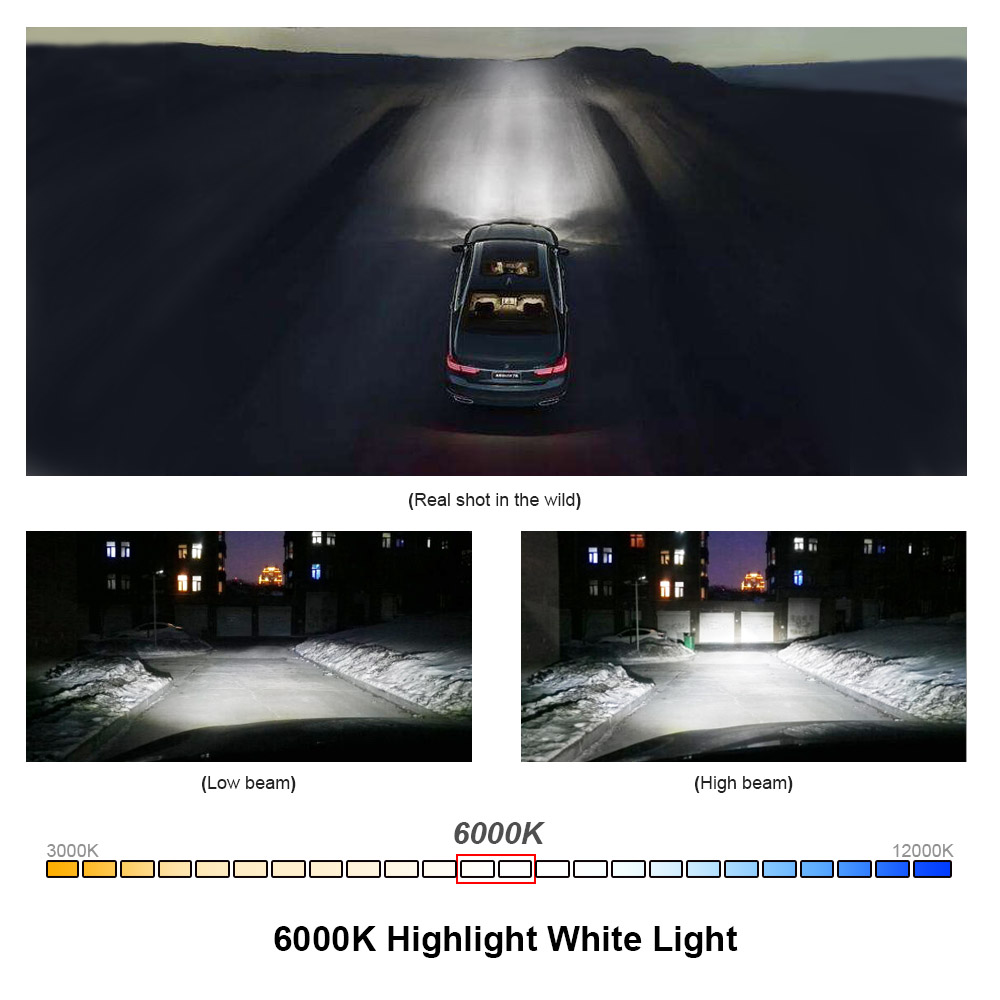 Image 5 - Turbo Ampoule Black C6 H7 H4 LED H11 H1 H8 Car LED Headlight Bulb H9 9005 9006 HB2 HB3 HB4 9003 12V 24V 60W 6000K 12000LM COB Au-in Car Headlight Bulbs(LED) from Automobiles & Motorcycles