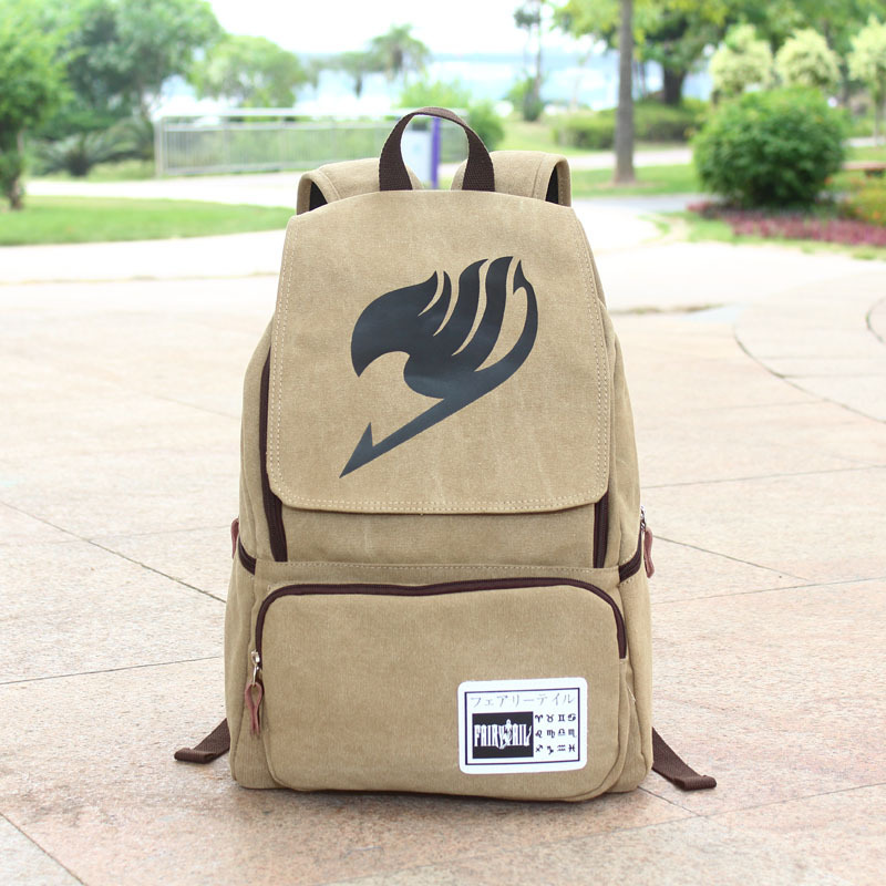 HOT Japan Cartoon Backpack Fairy Tail Cosplay School Bag Canvas Casual Backpacks Free Shopping free shipping korean version candy colors fairy tail logo printing man woman canvas schoolbag red green black blue backpacks