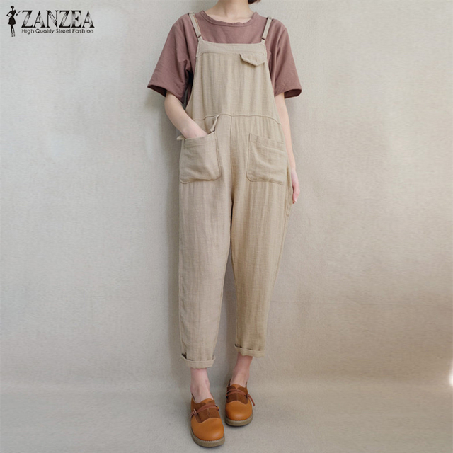 8a478d70e8b 2018 ZANZEA Fashion Women Strappy Pockets Jumpsuits Vintage Cotton Linen  Dungarees Solid Long Rompers Casual Loose Bib Overalls