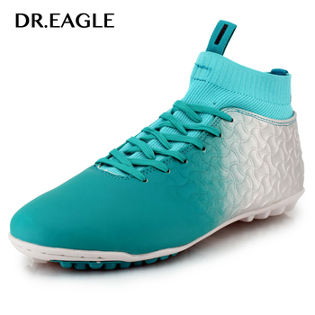 DR.EAGLE indoor soccer shoes socks with grass cleats crampon men football shoes ball professional futsal shoe boots man sneakers