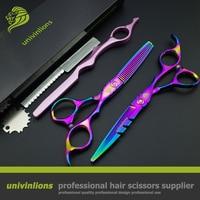Univin 6 0 Professional Hairdressing Scissors Hair Scissors Carved Handle 440C Hairdresser Supplies Tijeras Peluqueria Coiffeur