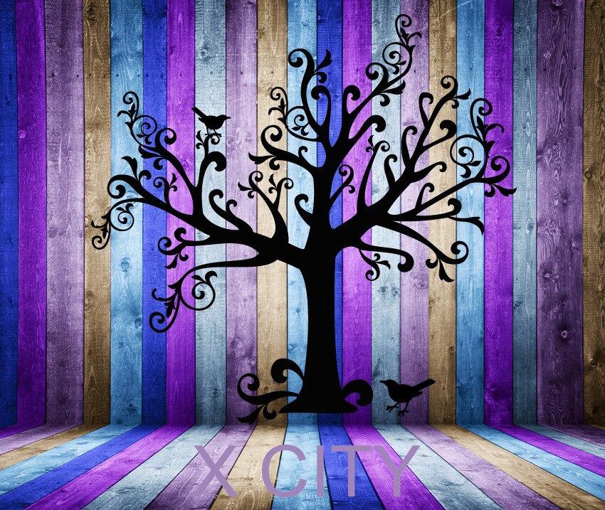 Grand fantasque conte de fées arbre mur ART autocollant vinyle décalque découpé avec des matrices enfants chambre pépinière pochoir MURAL décor à la maison 72x68 pouces