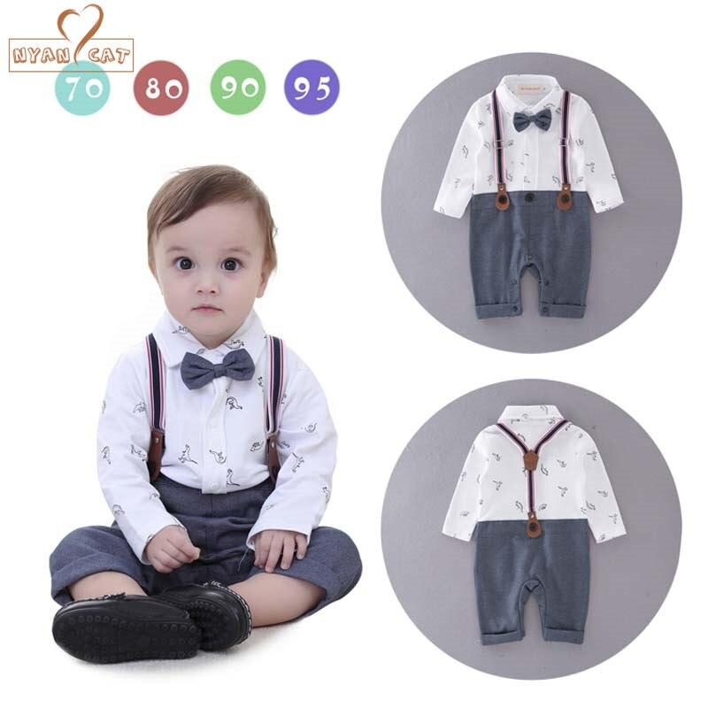 NYAN CAT Newborn Baby boys clothes bebe gentleman bow tie strap dinosaur romper infant toddler boy jumpsuit wedding clothing