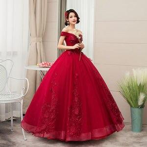 Image 3 - 2020 새로운 부인이 어깨에서 벗어나 럭셔리 레이스 파티 Vestidos 15 Anos 빈티지 Quinceanera 드레스 4 색 Quinceanera 가운 F