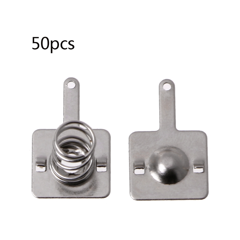 50 Pairs Metal Battery Spring Plate Set for AA AAA Batteries Positive Negative Contact Silver metal aa battery connecting spring lamination contact plate 30 pcs