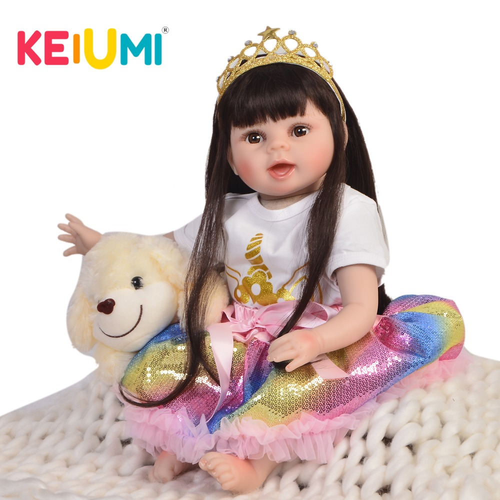 KEIUMI 22 Inch New Design Reborn Baby Alive Doll Soft Vinyl Lifelike Princess Girl Baby Doll Toys For Kids Xmas Birthday Gifts silicone vinyl reborn baby doll toys lifelike soft doll reborn babies pink princess toys for childs kids new design
