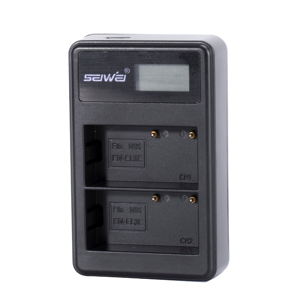 EN-EL3e ENEL3e EN EL3e EL3 dual USB <font><b>Battery</b></font> <font><b>Charger</b></font> with LCD screen for <font><b>Nikon</b></font> D70 D90 <font><b>D80</b></font> D100 D200 D700 Digital Camera image