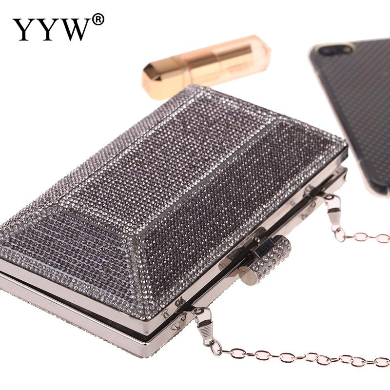 YYW Women Evening Clutch Bag Metal Sequin Clutch Female Crystal Day Clutch Wedding Purse Party Banquet Black Gold Silver in Top Handle Bags from Luggage Bags
