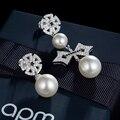New Luxury Micro Pave AAA Top CZ Diamond Crystals Pearl Dangle Earrings Bow Flower Asymmetry Earrings APM MONACO Brand for Women