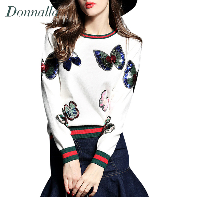 Women Knitted Sweater Runway Style Elegant Butterfly Sequins Embroidery Pullover Casual Jumper Knitwear Pull Femme