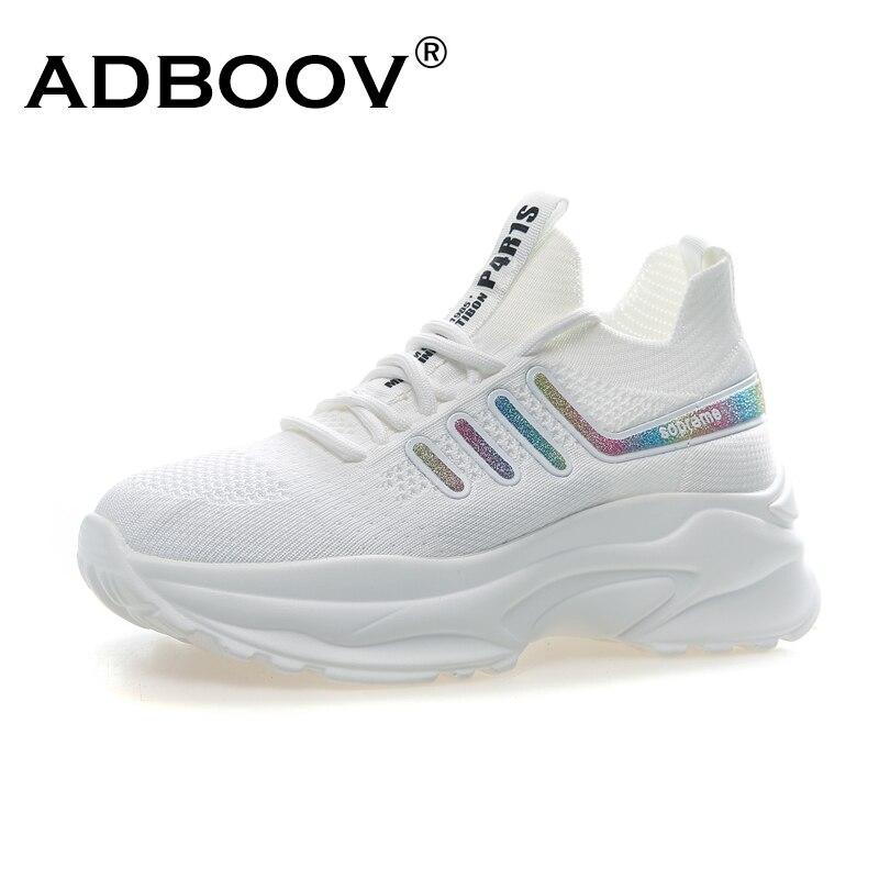 ADBOOV Branco Das Sapatilhas Das Mulheres Tênis de Plataforma de Moda Verão Respirável Malha Superior Casual Sapatos do Pai Cesta Femme