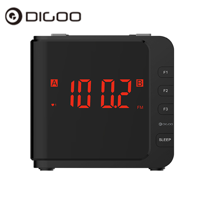 Digoo DG-CR7 Digital LED Large Display USB Alarm Clock AM/FM Radio Dual Alarm With Snooze 11.93cm x 10.41cm x 10.92cm new digital night light led alarm clock fm radio and natural sound with wake up alarm snooze sleep function red time display