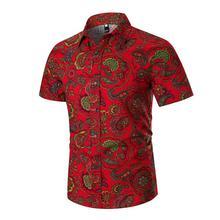 M-3XL Linen Shirts Men Retro pattern Hawaii Dress Shirts Mens Clothing Slim fit Short sleeve Black Red 2019 New цена