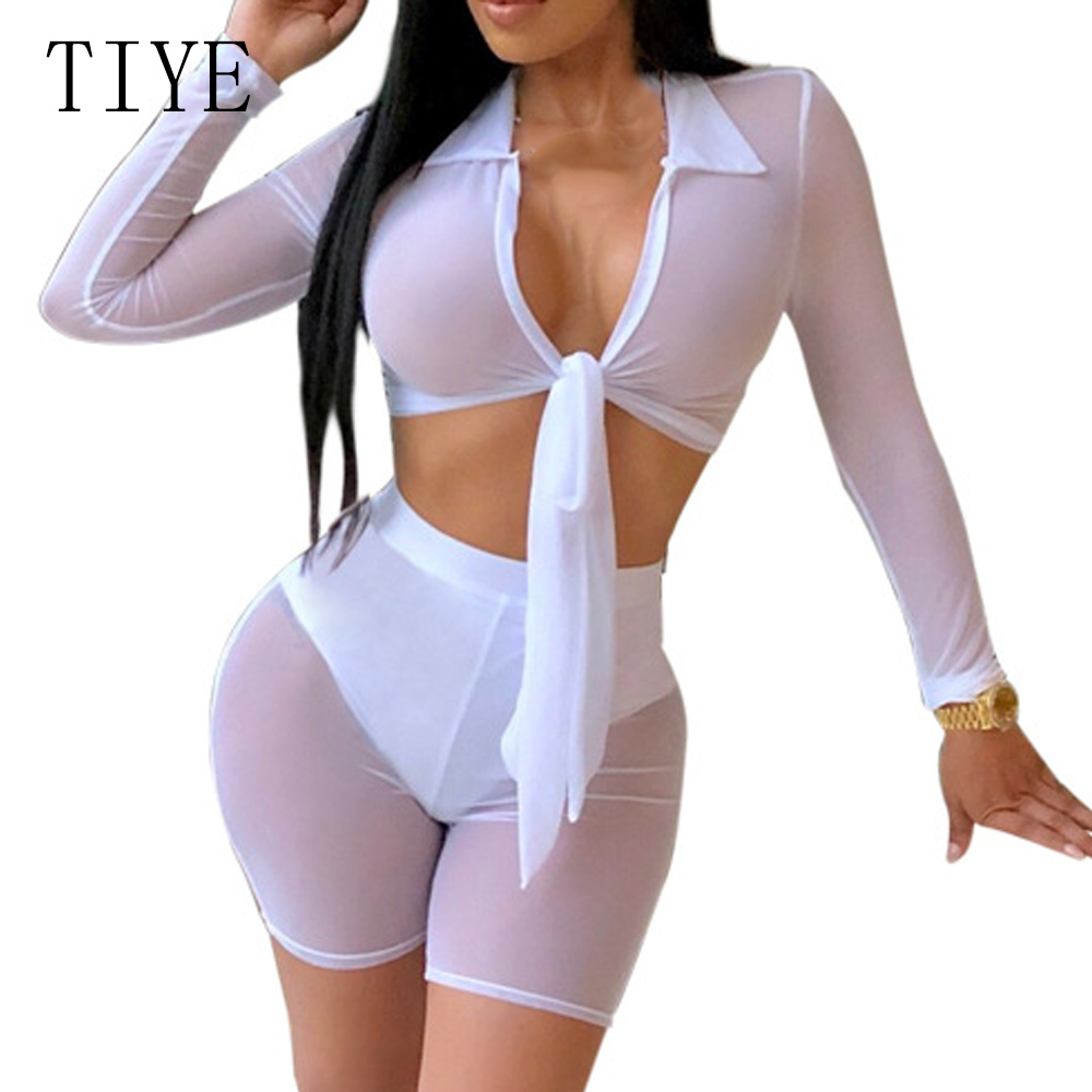 TIYE Sexy See Through Mesh 2 Pieces Sets Deep V neck Lace Up Top and Short Pants Elegant Long Sleeve Hollow Out Autumn Jumpsuits in Rompers from Women 39 s Clothing