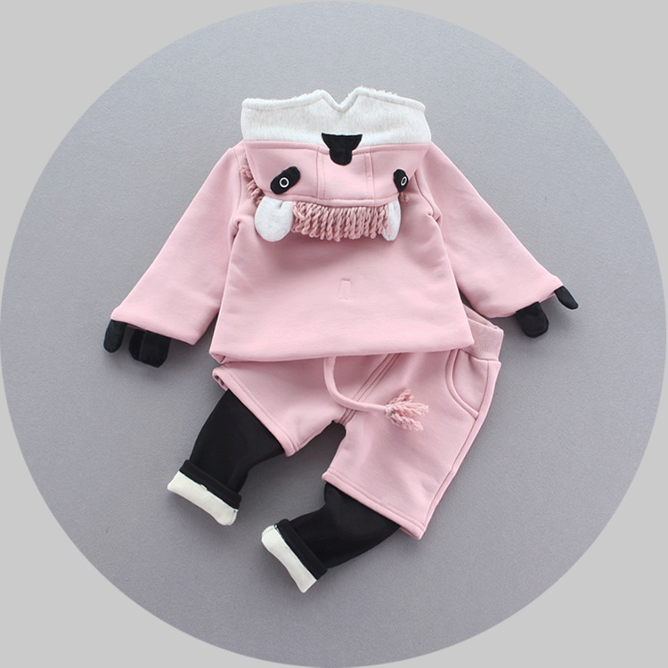 2016 girls clothes set autumn winter cartoon coat+pant 2pcs baby girl suits new velvet warm children clothes outfits newborn new arrival free shipping winter fashion cotton padded jacket pant with velvet kids baby clothes 2pc set girls children coat set