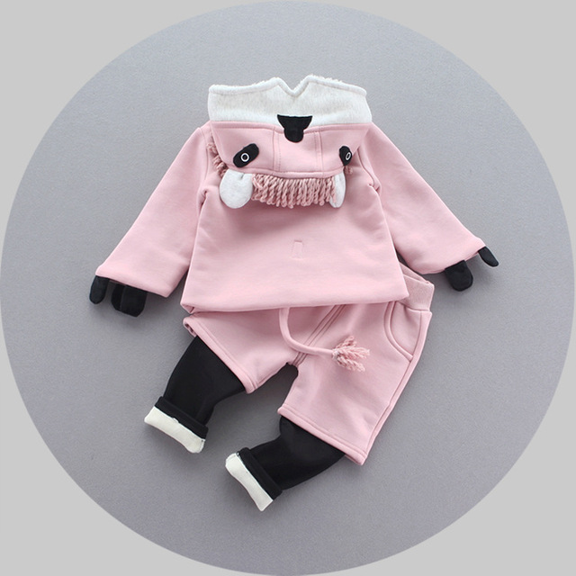 2016 girls clothes set autumn winter cartoon coat+pant 2pcs baby girl suits new velvet warm children clothes outfits newborn