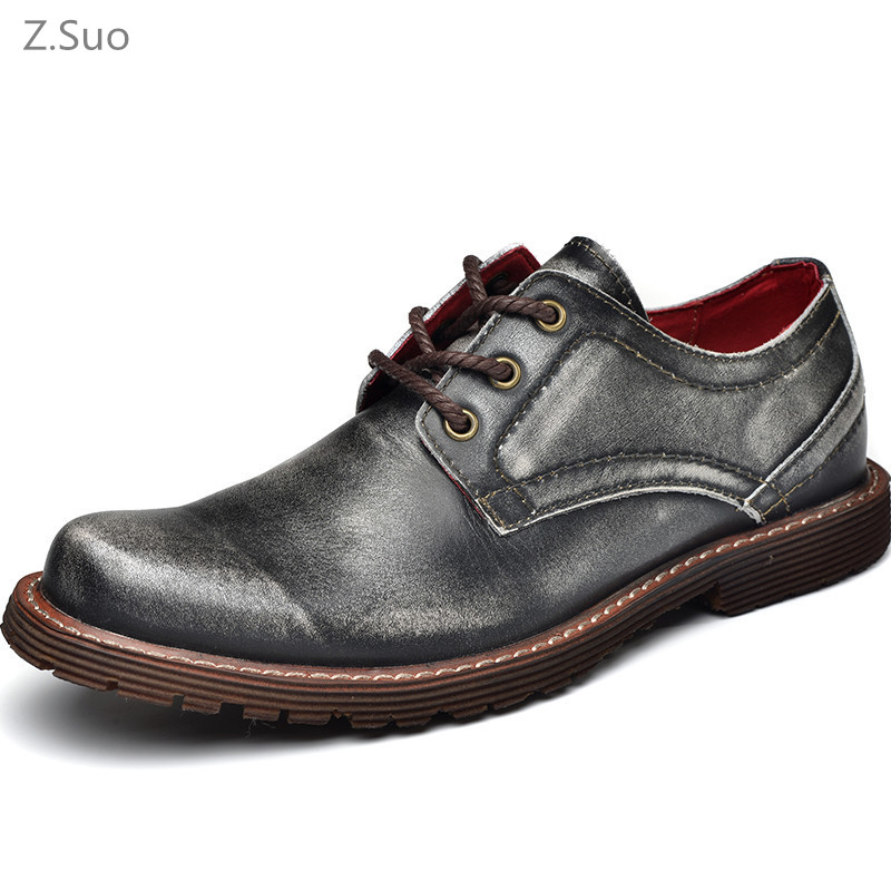 Vintage Genuine Leather Men Oxfords For Men Dress Shoes Formal Men Working High Quality Brown Gray
