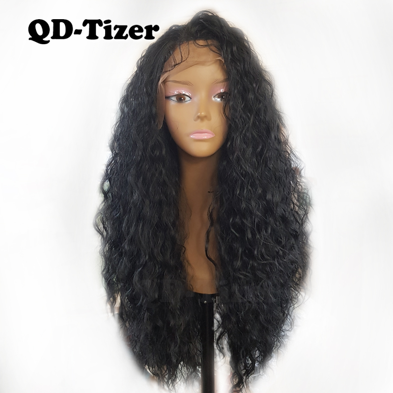 180 Density Long Loose Curly Synthetic Lace Front Wigs Black Color Glueless Lace Front Wig Hair for black Women