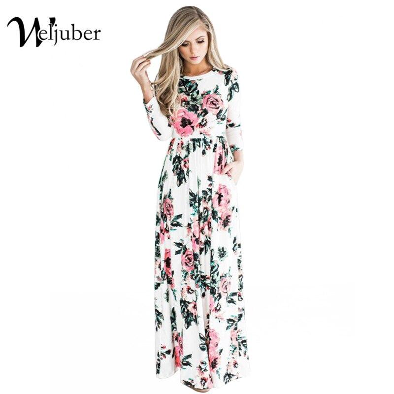 2017 Weljuber Print Flower Beach Dress Boho High Quality Vintage Summer Long Sleeve Dresses Maxi Women Long Dress