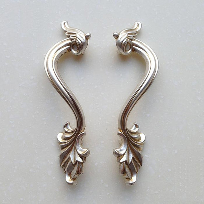 Vintage Cabinet Door Handles Pulls Antique Silver Symmetry ...