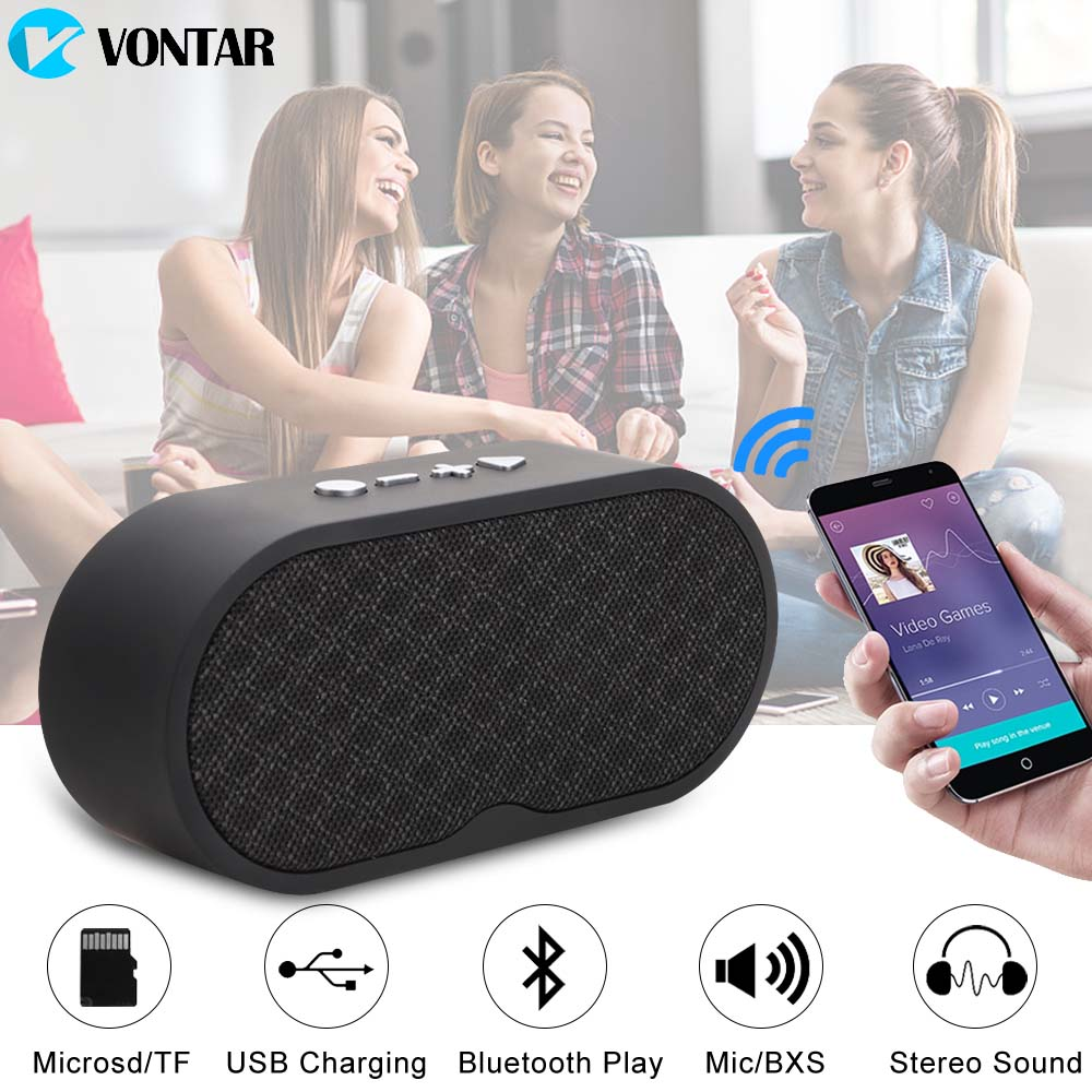 VONTAR F3 Portable Bluetooth Speaker Wireless Hands free Speakers Subwoofer Loudspeakers Audio For Phone With HD Mic TF USB FM