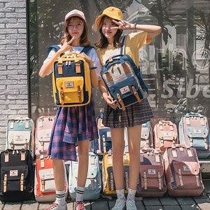 Image 5 - תלמיד חטיבת ביניים בד תרמיל רב צבע נער גבירותיי נסיעות תרמיל אופנה בנות תיק של המוצ ילה Feminina