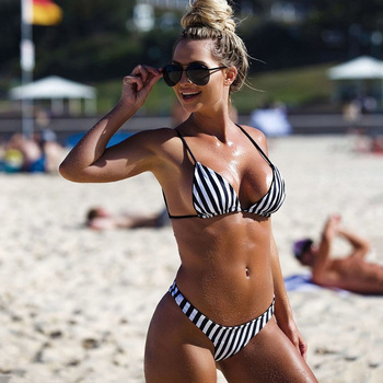 цены Folok Backless Bandage Bikini Set Spaghetti Strap Tankini Sexy Brazilian bikinis Push Up Swimsuits Striped S