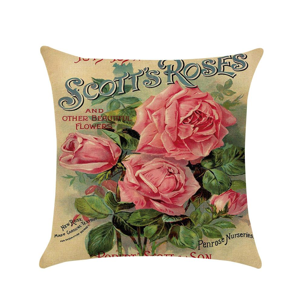 Home & Garden Home Textile Hospitable Hot Sell Classic Style Floral Rose Cotton Linen Throw Pillow Case Cushion Cover Sofa Bed Car Decor Home Hotel Decoration