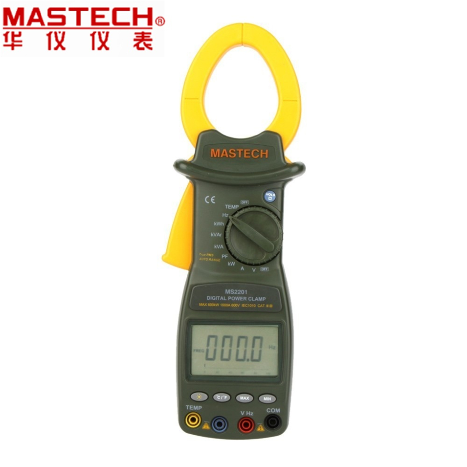 Free shipping MASTECH MS2201 Digital Power Clamp Meter ACTIVE/APPARENT/REACTIVE POWER POWER FACTOR and ACTIVE ENERGY Tester