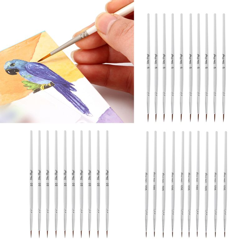 10Pcs/Bag Miniature Detail Paint Brushes With White Handle Nylon Hair DIY Art Oil Acrylic Watercolor Drawing Tool