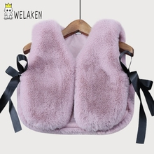 Фотография weLaken Baby Girls Imitation Fur Vest Children Clothing Autumn Winter Coat  2017 New Arrival Kids Waistcoat Girls Fashion Vests