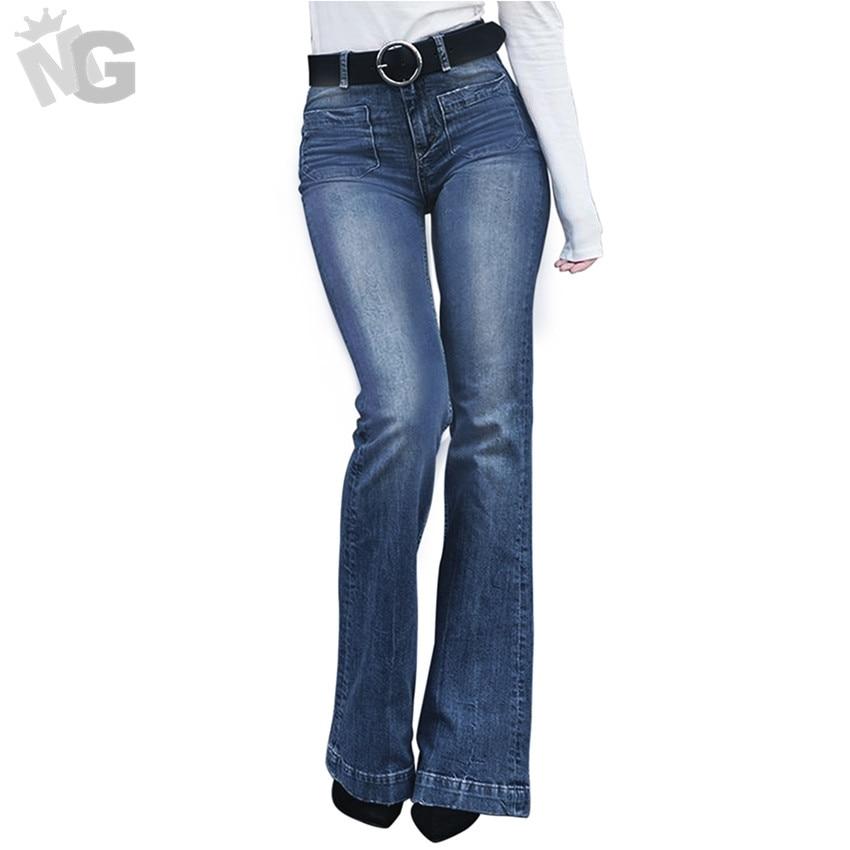 2019 New Ladies High Waist Flare Jeans Fashion Women Denim Skinny Trousers Casual Woman Female Wide Leg Pants Slim Flare Jeans