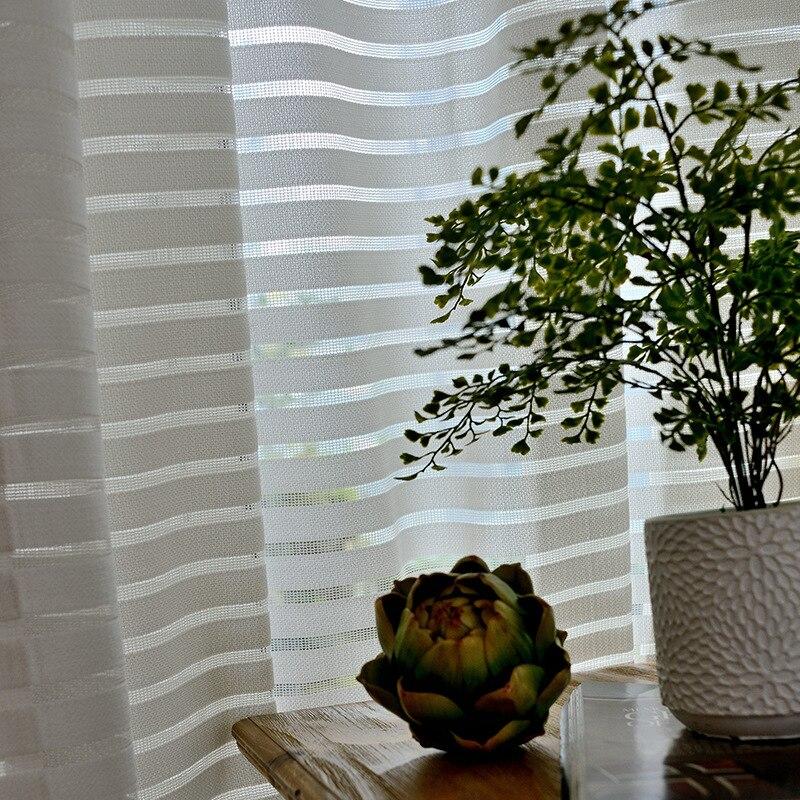 Moderne gestreifte Tüll Vorhänge für Wohnzimmer Weiß Voile Kurze - Haustextilien - Foto 3