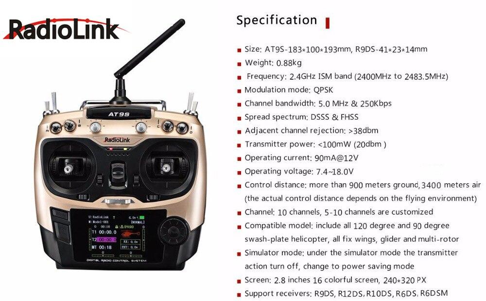 Transmisor de sistema Radiolink AT9S 2,4G 9CH con receptor R9DS AT9 visión de actualización de Control remoto para helicóptero RC quadcopter-in Partes y accesorios from Juguetes y pasatiempos    3