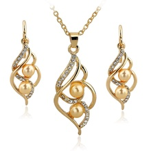 SZELAM Fashion Simulated Pearl Crystal Earrings Necklace Set For Women Wedding Jewelry Set SET140024