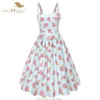 SISHION Women Ice Cream Print Summer Dress VD1105 Sexy Spaghetti Strap Swing Vintage Swing Retro Pin Up Dress